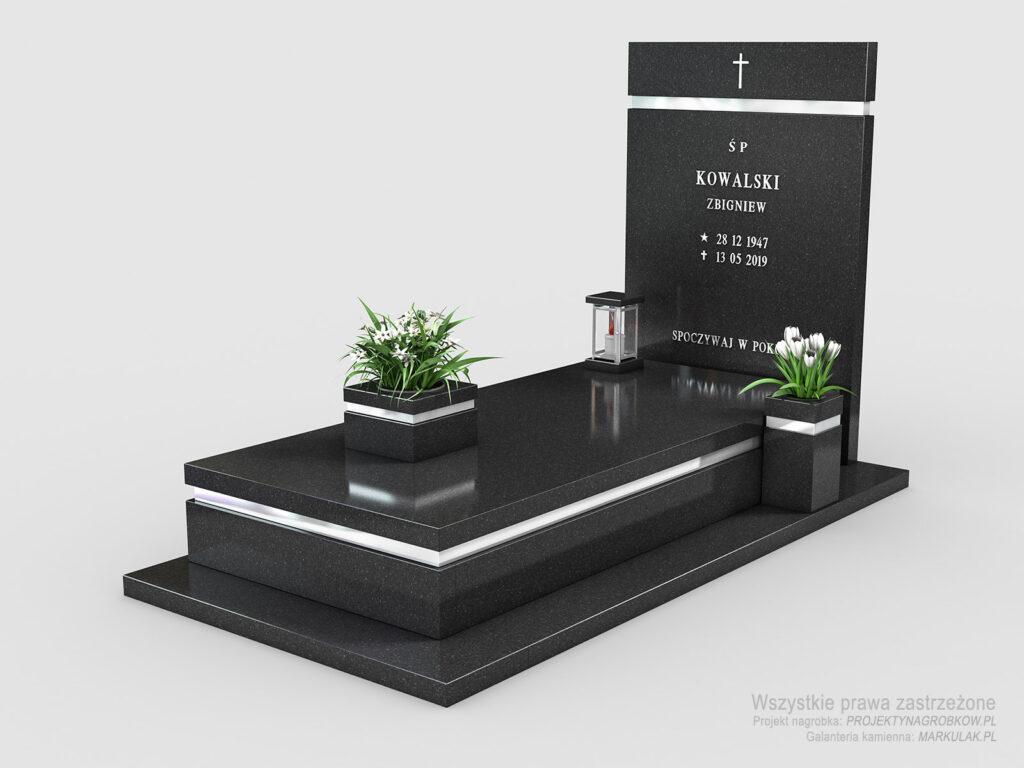 Piękny nagrobek Premium Black z dodatkami ze stali nierdzewnej (n01)