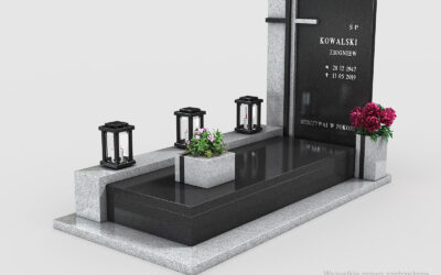 Piękny nowoczesny nagrobek Premium Black/Kuru Grey (n15a)