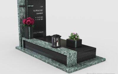 Piękny nowoczesny nagrobek Premium Black/Olive Green (n15b)