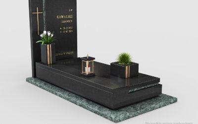 Piękny nowoczesny nagrobek Premium Black/Olive Green n07b