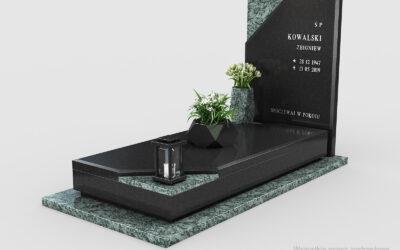 Nowoczesny nagrobek Premium Black/Olive Green z wstawkami n11a